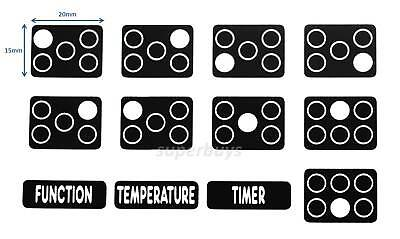White Print 5 & 6 Hob Stove Cooktop Oven Sticker Label Electric Induction Gas