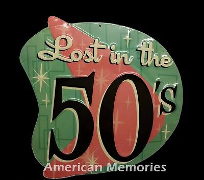 Lost in the 50's Embossed Tin Metal Sign - Gasoline - Vintage Reproduction