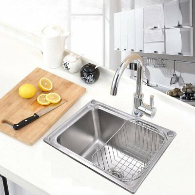 Single 1.0 Bowl Inset With Waste Stainless Steel Square Kitchen Sink