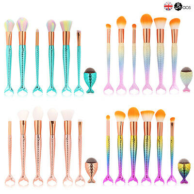 7Pcs Makeup Mermaid Brushes Set Blusher Brushes Cosmetic Foundation Make Up Tool