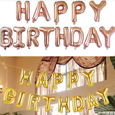 Self Inflating Happy Birthday Banner Foil Balloon Bunting Gold Silver Letters KS