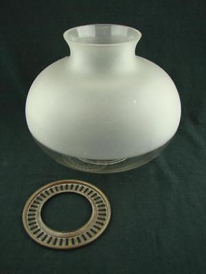Large Etched & Clear Glass Oil Lamp Shade With Brass Shade Gallery For Burner