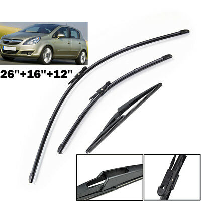 Front Rear Window Windscreen Flat Wiper Blades For Vauxhall / Opel Corsa D 06-