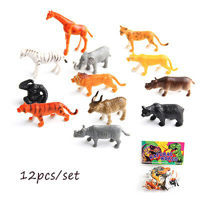 12pcs/set Plastic Zoo Animal Small Figure Toy Cute Animal Shape Kids Toys Gift