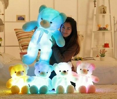 Light Up LED Teddy Bear Gift Stuffed Animals Plush Toy Colorful Glowing 50/75cm
