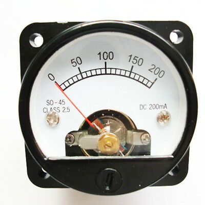 Ammeter SO-45 Class 2.5 Accuracy DC 0-200mA Round Analog Panel Meter Black