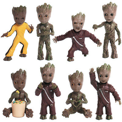 """8 Styles Guardians of the Galaxy Vol.2 Baby Groot 3"""" Key Chain Figure Statue Toy"""