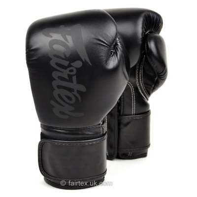 Fairtex Solid Black Lightweight Muay Thai Boxing Gloves Sparring MMA Kickboxing