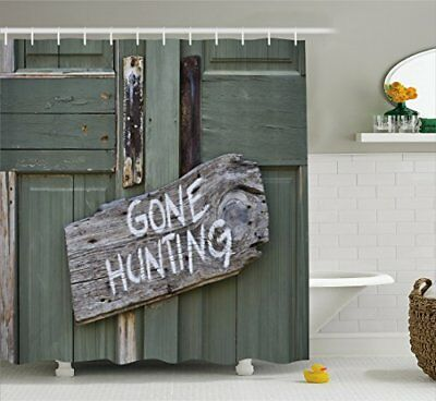 Hunting Decor Shower Curtain By Ambesonne Gone Written On Wooden Board
