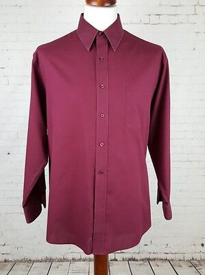 Vintage 80s Mens L-Sleeve Classic Burgundy  Polycotton Shirt -XL- EG21