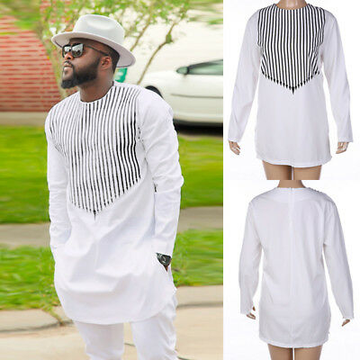 African Dashiki Men Print White Tribal Shirt Succinct Hippie Top Blouse Clothing