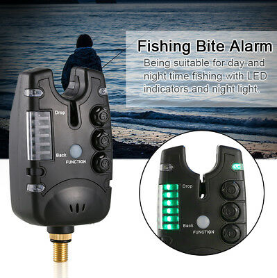 Electronic LED Light Fishing Bite Sound Alarm Alert Bell Tackle Fish On the Rod