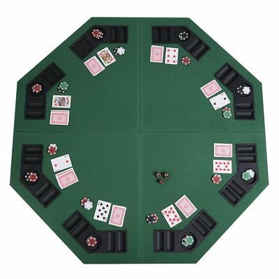 8 Player Four-Fold Folding Poker Table-Top Carrying Case Chip Trays Drink Holder