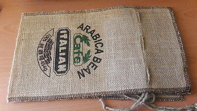 Coffee 1kg  4 New Hessian Draw Sting Presentation Bags Top Quality
