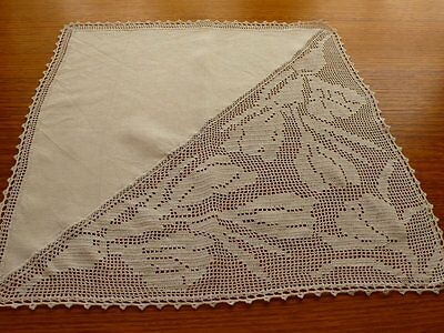 White Doily With Lace Panel 48 X 48Cm
