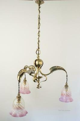 ARTS AND CRAFTS Antique/Vintage 1920s Brass Chandelier/Ceiling Light 92cm high
