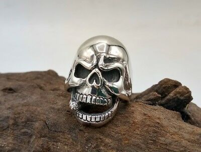Real Heavy Solid 925 Sterling Silver Skull Ring Biker Punk Gothic Cigarette Head