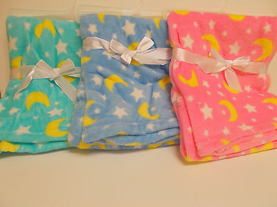 "Ultra Soft Honey Baby Blankets 30""x30"" (Light Blue, Medium Blue Or Pink)"