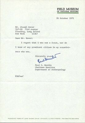 Archeologist / Anthropologist PAUL S. MARTIN Signed Letter