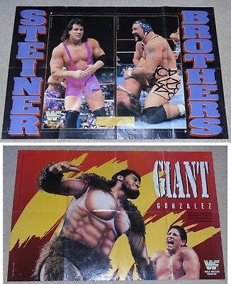 Wwf Poster The Steiner Brothers Scott & Rick With Giant Gonzales On Rear Wwe