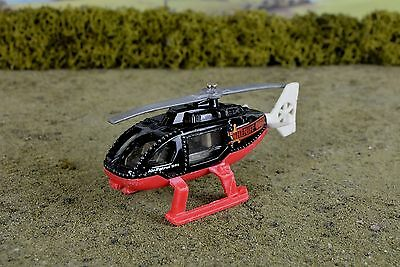 R&L Diecast, Playworn Matchbox Police Rescue Helicopter Black/Red 2001