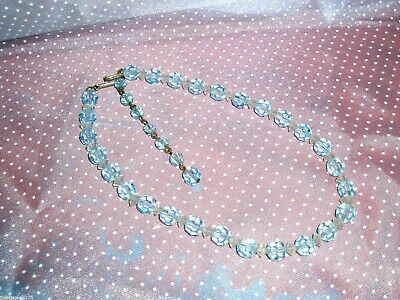 Stunning Vintage Clear and Blue CRYSTAL Beaded Necklace