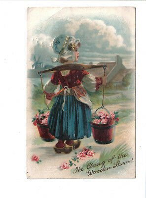 Vintage  Postcard.Dutch Girl with Buckets of Flowers.Posted c1910