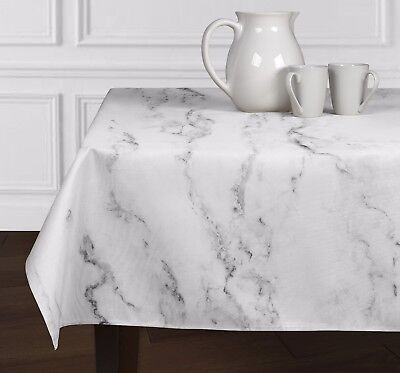 "Black White & Grey Marble Rectangle Tablecloths Dining Room Kitchen 60""x102"""