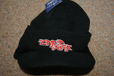 0ff17c762b5 Linkin Park Embroidered Logo Ribbed Billed Beanie Cap Ski Hat Bnwt Official