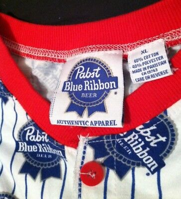 Adult Ones ie Pajamas - Pabst Blue Ribbon PBR Footless - Rare Barware Costume XL