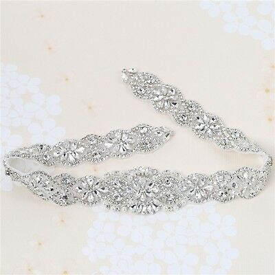 Wedding Bridal Sash Applique Crystal Rhinestone Applique Pearls Beaded long H...