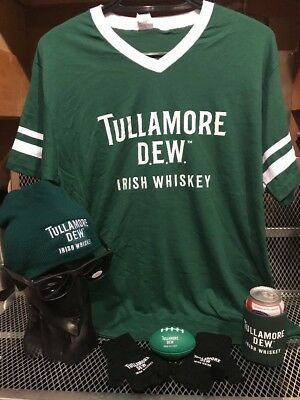 TULLAMORE DEW WHISKEY ~ MED ~ PARTY PACK ~ Rugby Football Shirt Beanie Gloves ++