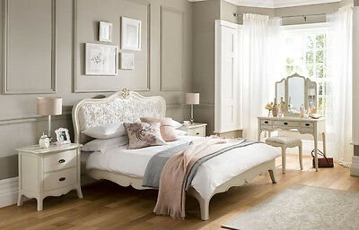 Charlotte Cream French Upholstered Mahogany Wood Bed (Double, King, Superking)