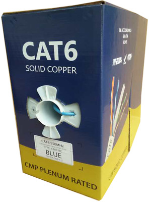 Bulk 1000 ft Plenum Cat6 100% Solid Copper UTP cat 6 Cable Blue, White