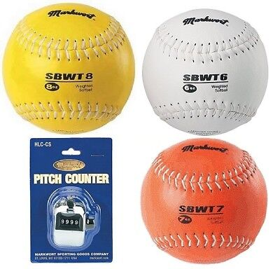 Weighted Sotball 7 & 8 Oz Leather Cover 4 Pc Pitchers Set W/chrome Pitch Counter