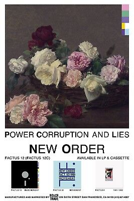 "New Order Power Corruption & Lies PROMO POSTER Perfect Repro Version-2 16"" x 24"""