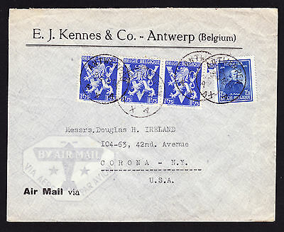 Belgium Belgian commercial cover from Antwerp to Corona NY USA by Air Mail 1948