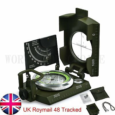 Professional Military Army Metal Sighting Compass Clinometer Camping Hiking +Bag