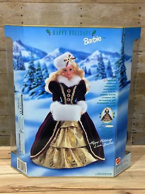 Happy Holidays Barbie Doll 1996 Christmas NRFB Special Gold Burgundy Snow 90s