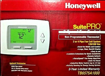 Honeywell TB6575A1000 3-Speed Fan Coil Thermostat; 2 or 4 pipe