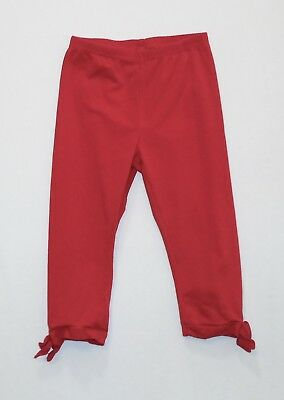"Gymboree ""Poppy Love"" Solid Red Cropped Capris Leggings w/Bows, 5"