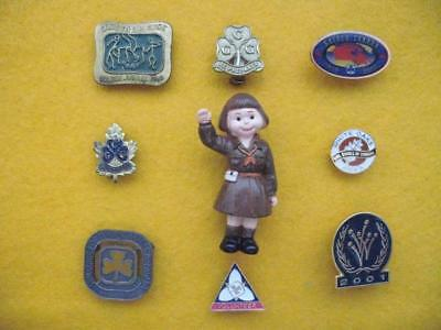 Vintage Girl Guides Of Canada - Collection (#4) Of Nine Pins.