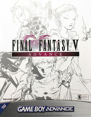 "NEW 22"" x 28"" Final Fantasy V GBA Advance Poster - Yoshitaka Amano Artwork"