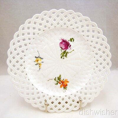 "Antique MEISSEN 1763 Dot Mark Pierced/Reticulated Floral Dish/Plate 9 1/8"" Read"