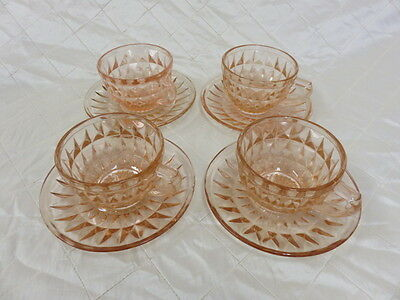Vintage Cups and Saucers Depression Jeanette Windsor Set Glassware Pink