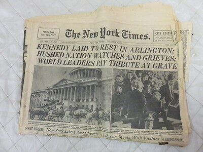 "Vintage New York Times- ""Kennedy Killed by Sniper""-November 23 1963 Late City Ed"