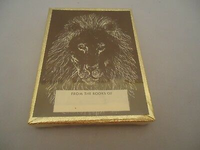 NOS Sealed 50 Gummed Bookplates Antioch Publishing ETCHED LION FACE W 33