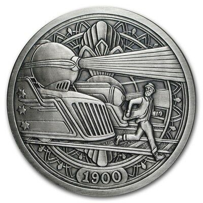 Hobo Nickel Series The Trains 5 oz .999 Silver Antiqued Finish Round USA Coin