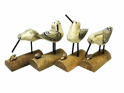 "Beach Carved Wooden Seagull SANDPIPER sand piper BIRDS - Set of 4 - 6""H"