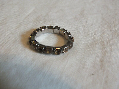 "Beautiful Silver Tone Cocktail Ring Stretch 2 Ton Amber Rhinestones 1/8"" Wide"